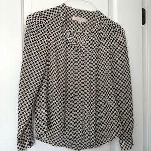 White and black Loft blouse